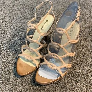 Guess strappy nude heels